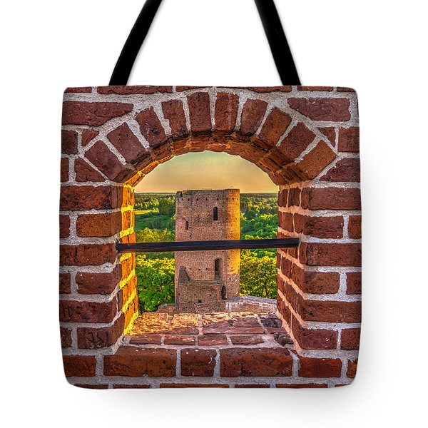 Red Castle Window View Tote Bag