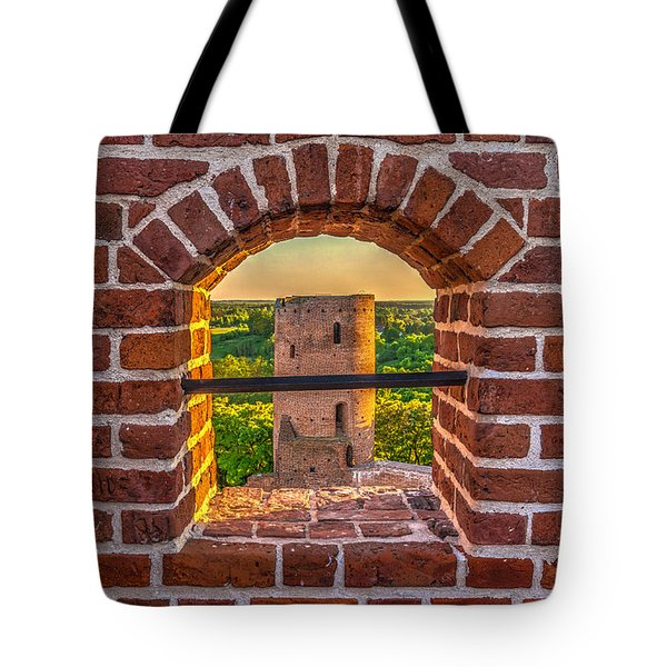 Tote Bag featuring the photograph Red Castle Window View by