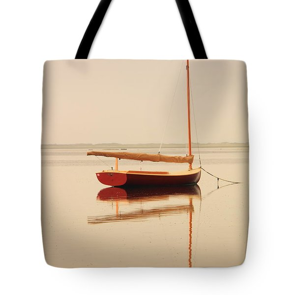 Red Catboat On Misty Harbor Tote Bag