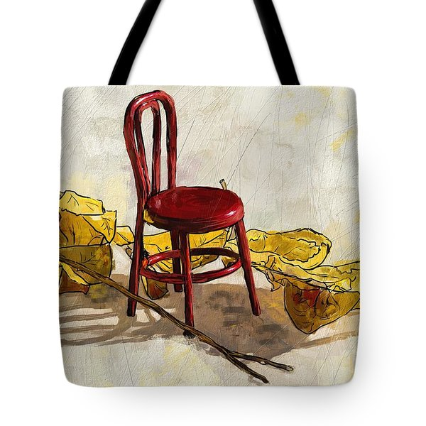 Red Chair And Yellow Leaves Tote Bag