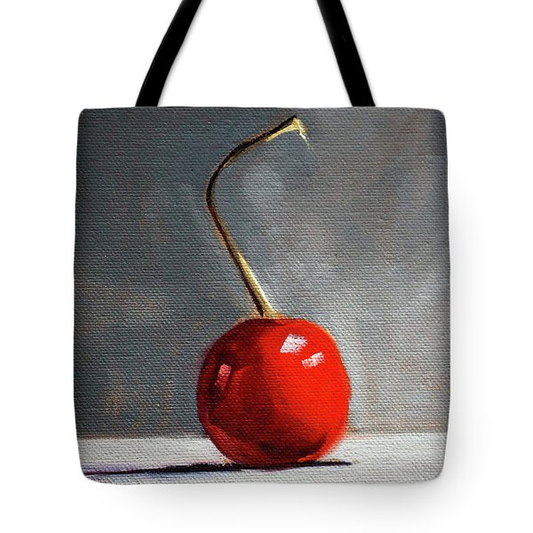 Tote Bag featuring the painting Red Cherry by Nancy Merkle