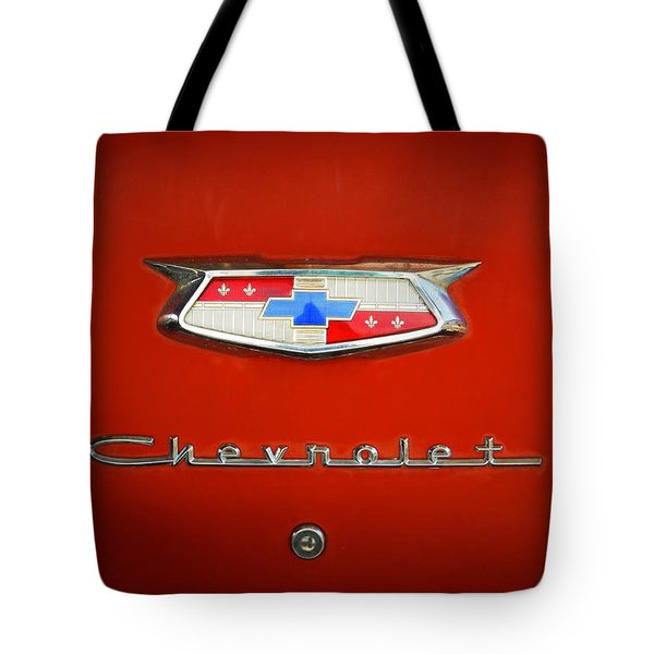 Tote Bag featuring the photograph Red Chevy Bel-air Trunk by Marilyn Hunt
