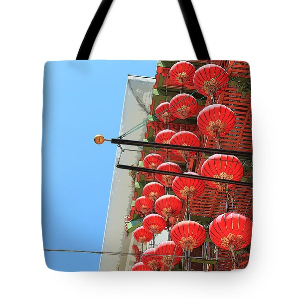 Tote Bag featuring the painting Red Chinese Lanterns by Jeanette French