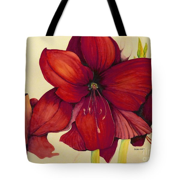 Red Christmas Amaryllis Tote Bag