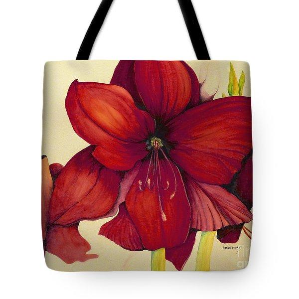Red Christmas Amaryllis Tote Bag