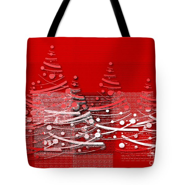 Red Christmas Trees Tote Bag by Aimelle
