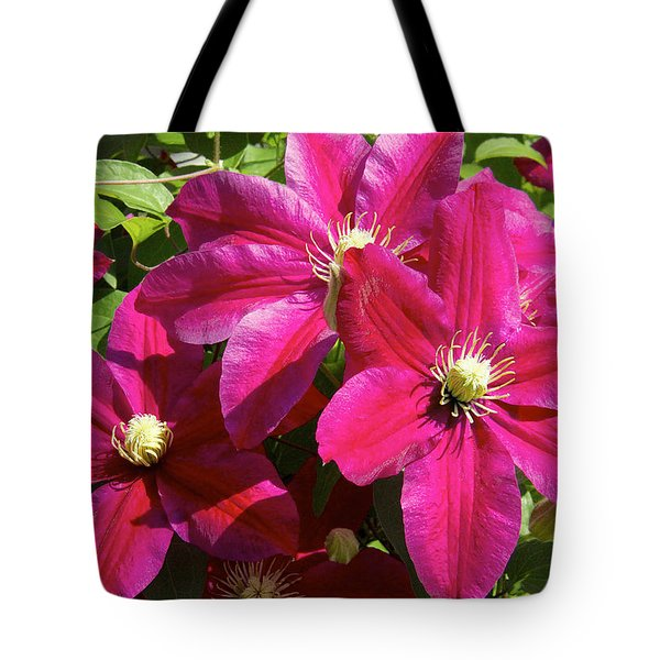 Red Clematis Tote Bag