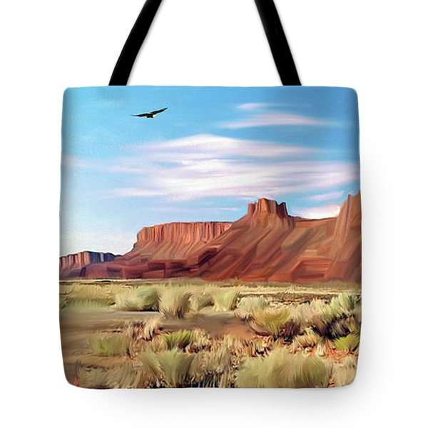 Red Cliff Eagle Tote Bag by Walter Colvin