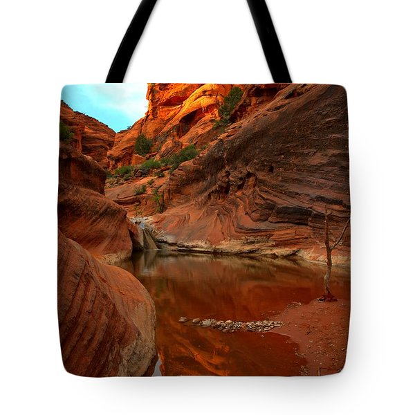 Red Cliffs Reflections Tote Bag