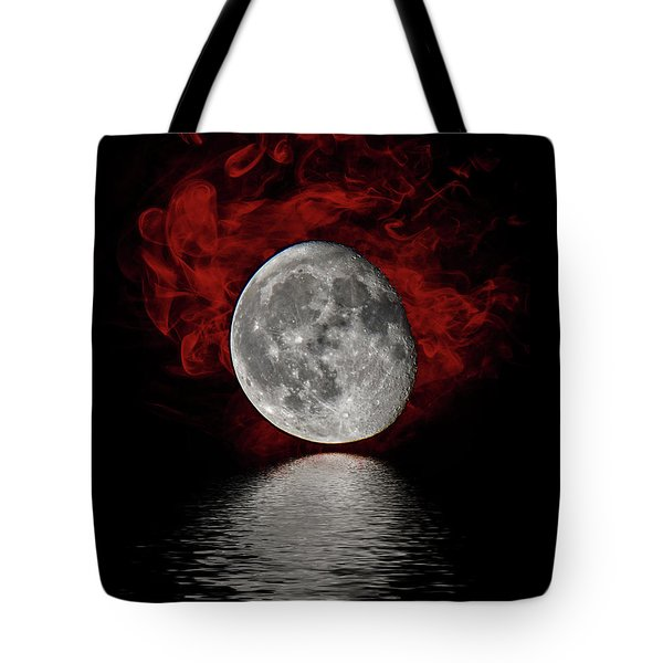 Red Cloud With Moon Over Water Tote Bag