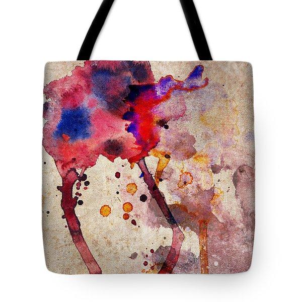 Red Color Splash Tote Bag