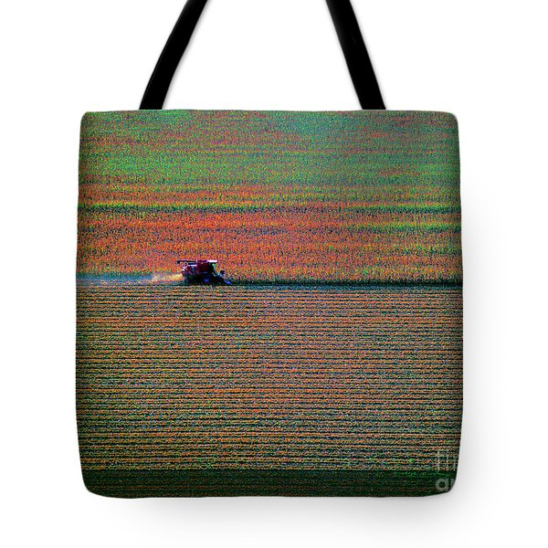 Red Combine Harvesting  Mchenry Aerial Tote Bag