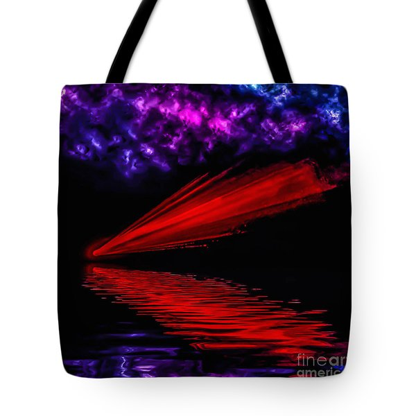 Red Comet Tote Bag by Naomi Burgess