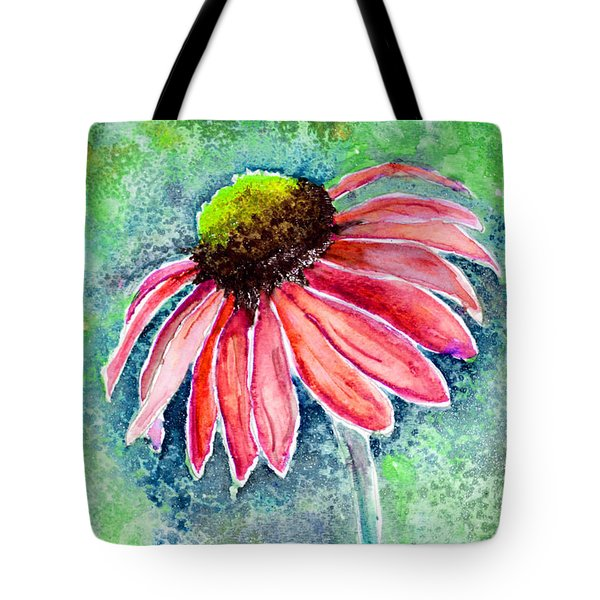 Tote Bag featuring the painting Red Cone Flower 9-1-15 by Mas Art Studio