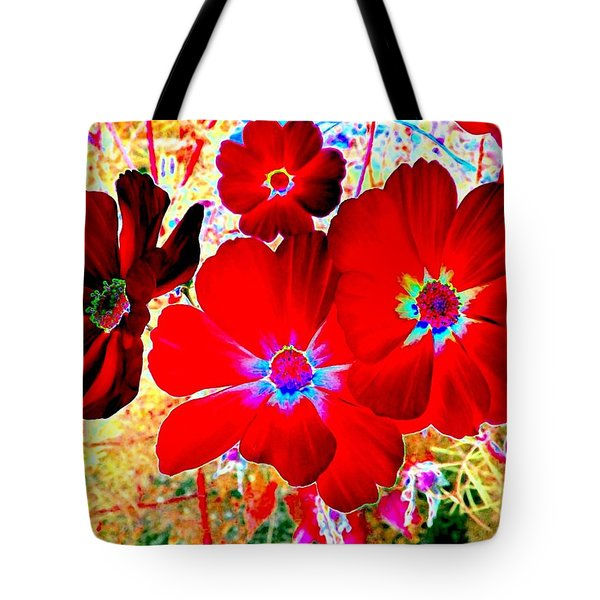 Red Cosmos Tote Bag by Will Borden