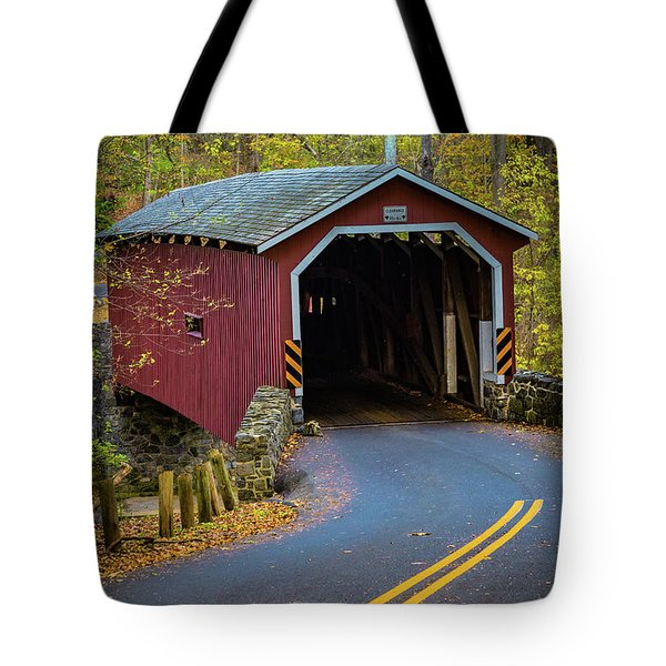 Red Covered Bridge In Lancaster County Park Tote Bag