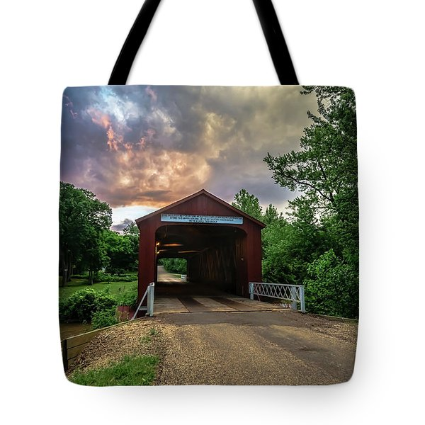 Red Covers Bridge With Pretty Sky  Tote Bag