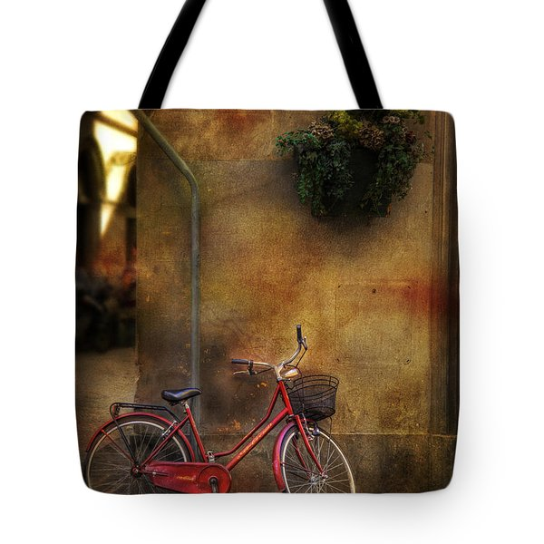Red Crown Bicycle Tote Bag by Craig J Satterlee