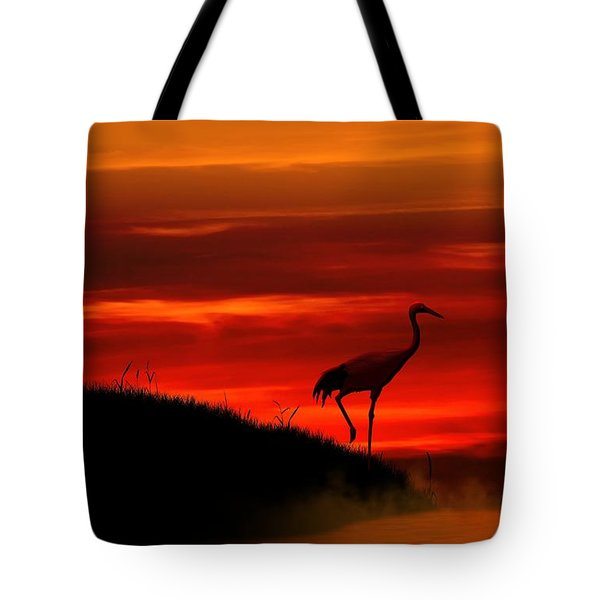 Tote Bag featuring the digital art Red Crowned Crane At Dusk by John Wills