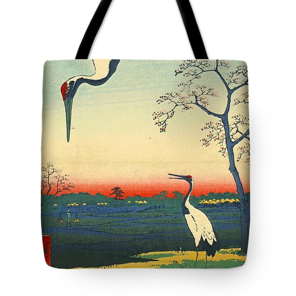 Red Crowned Cranes 1857 Tote Bag by Padre Art