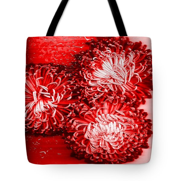 Red Crysanthiam Tote Bag