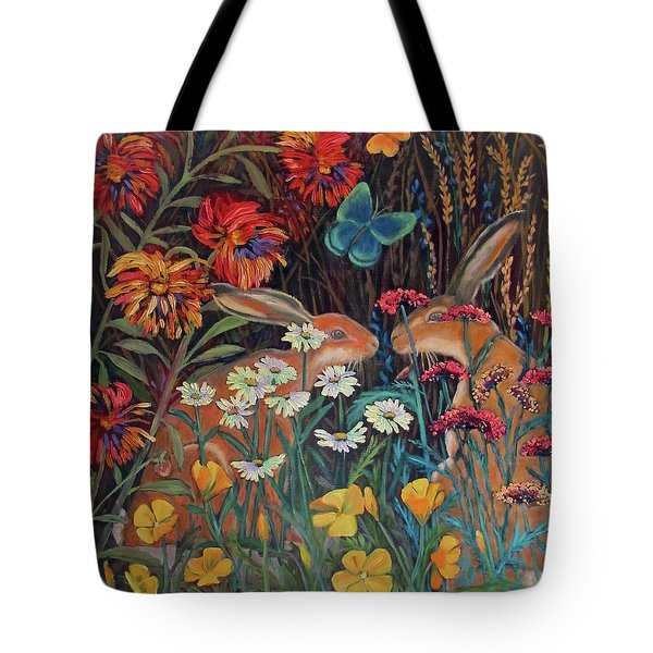 Tote Bag featuring the painting Red Dahlia Garden- Dyptich A by Susan  Spohn