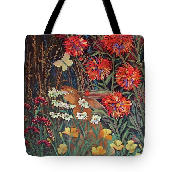 Tote Bag featuring the painting Red Dahlia Garden- Dyptich B by Susan  Spohn