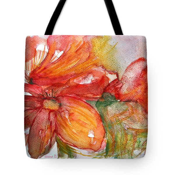 Red Dance Tote Bag by Jasna Dragun