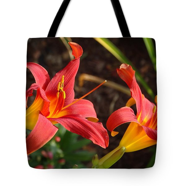 Red Daylilies Tote Bag