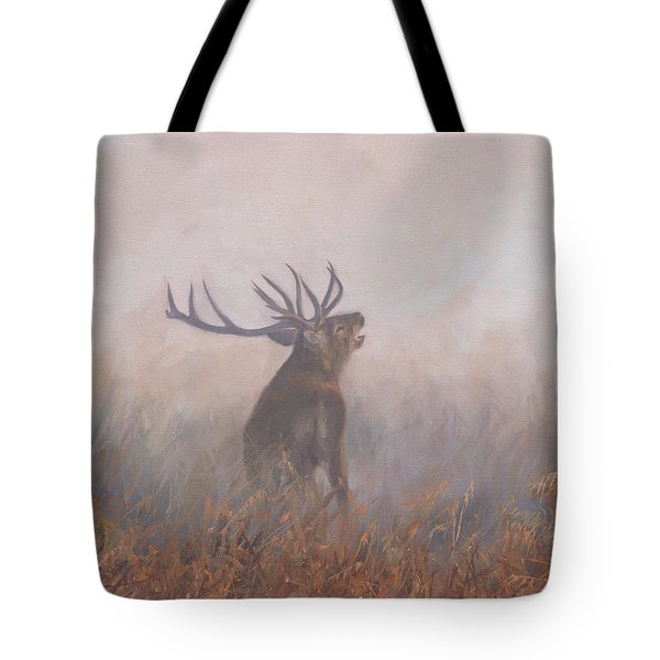 Tote Bag featuring the painting Red Deer Stag Early Morning by David Stribbling