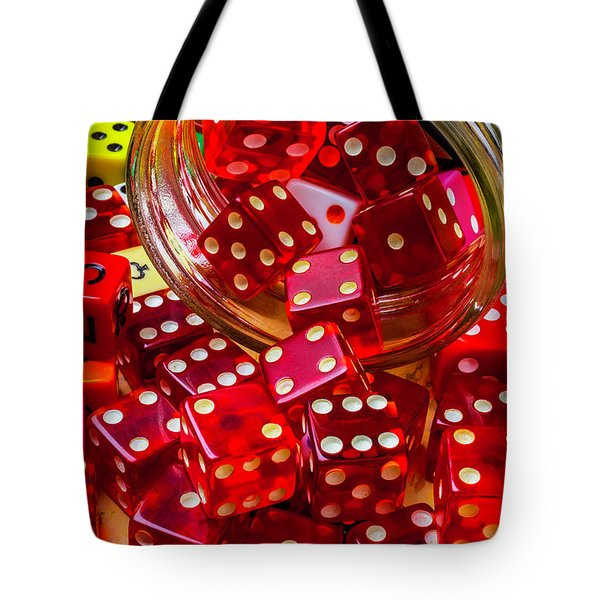 Red Dice Spilling Out Tote Bag