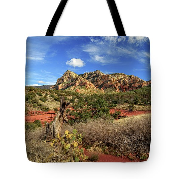 Red Dirt And Cactus In Sedona Tote Bag by James Eddy
