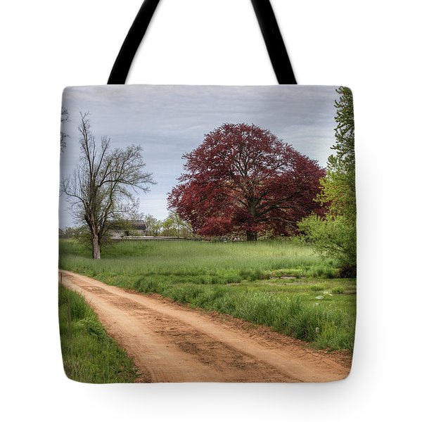 Red Dirt Road And Maple Tote Bag