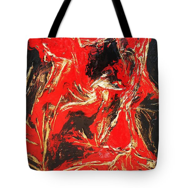 Red Distressed Tote Bag