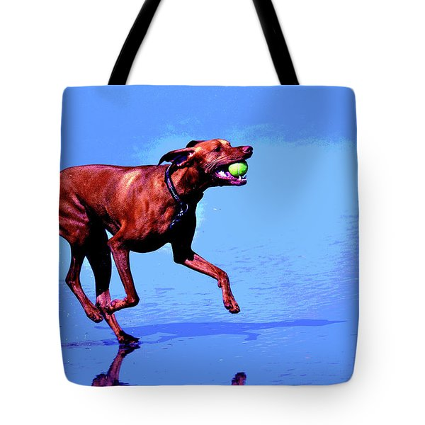 Red Dog Running Tote Bag