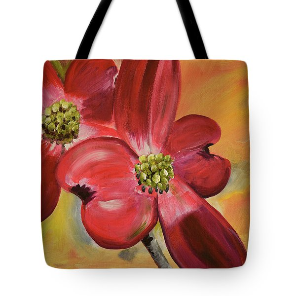 Tote Bag featuring the painting Red Dogwood - Canvas Wine Art by Jan Dappen