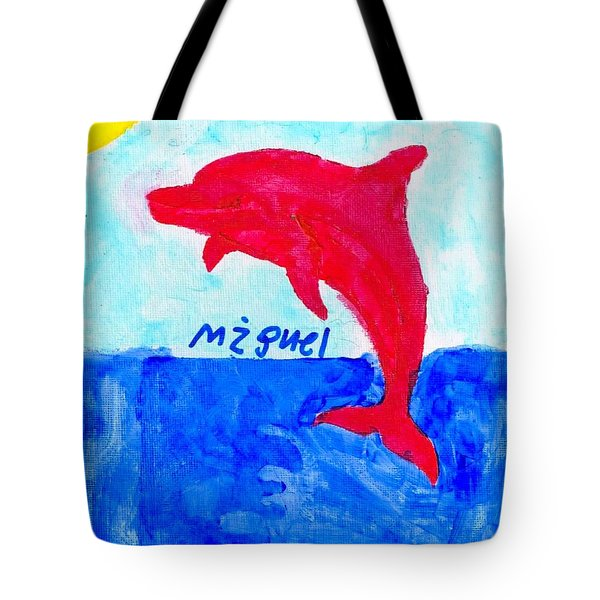 Red Dolphin Tote Bag
