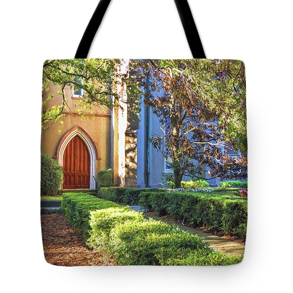 Tote Bag featuring the photograph Red Door Church by Kim Hojnacki