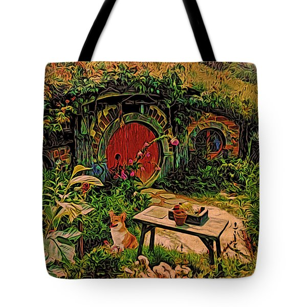 Red Door Hobbit House With Corgi Tote Bag