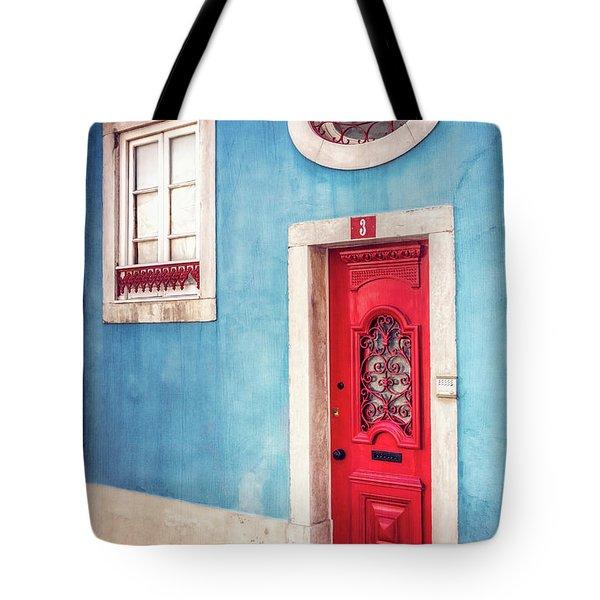 Red Door In Lisbon  Tote Bag