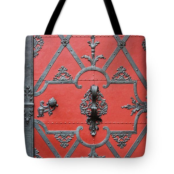Red Door In Prague - Czech Republic Tote Bag by Melanie Alexandra Price