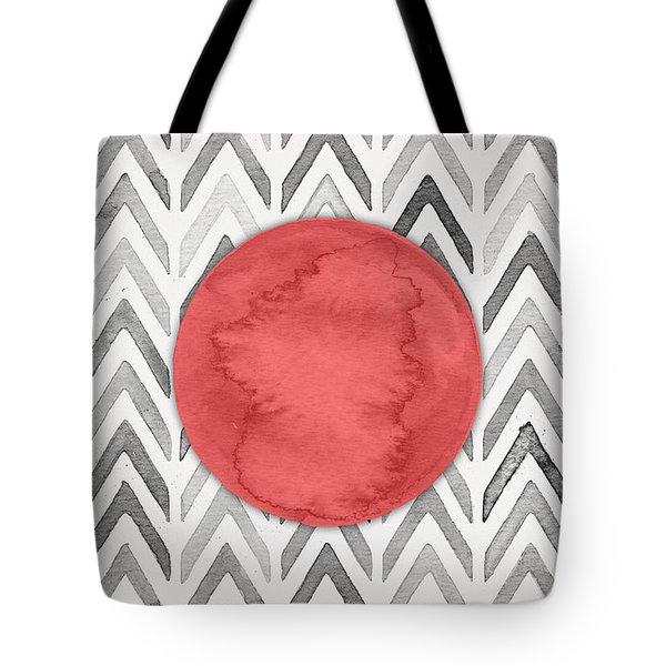 Red Dot On Chevron Watercolor Pattern  Tote Bag