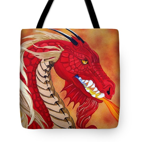 Red Dragon Tote Bag by Debbie LaFrance