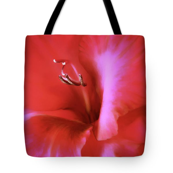 Red Dragon Gladiola Flower Tote Bag by Jennie Marie Schell