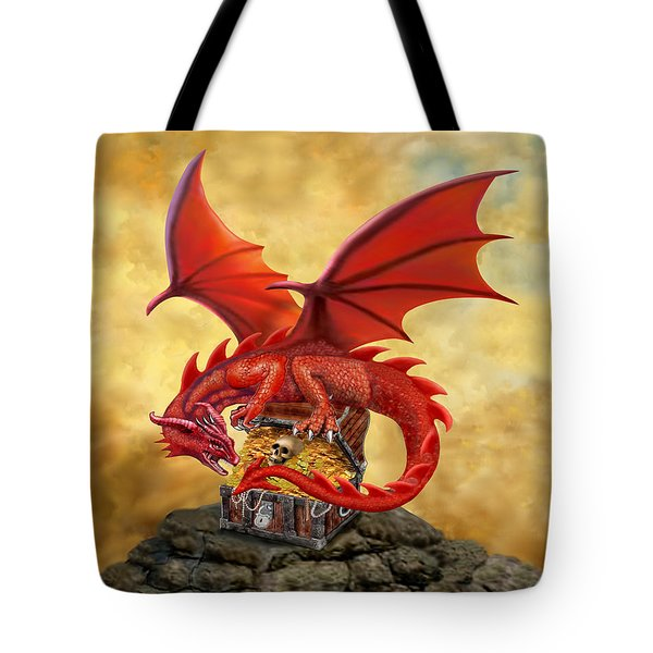 Red Dragon's Treasure Chest Tote Bag