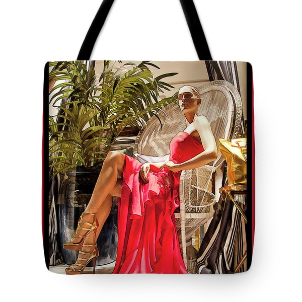 Tote Bag featuring the photograph Red Dress - Chuck Staley by Chuck Staley