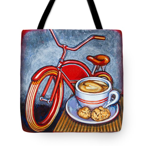 Red Electra Delivery Bicycle Cappuccino And Amaretti Tote Bag