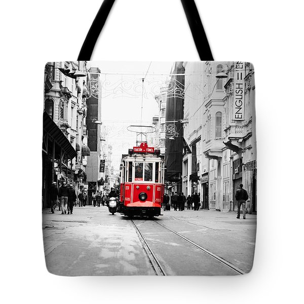 Red Electric Trolley Select Color Tote Bag