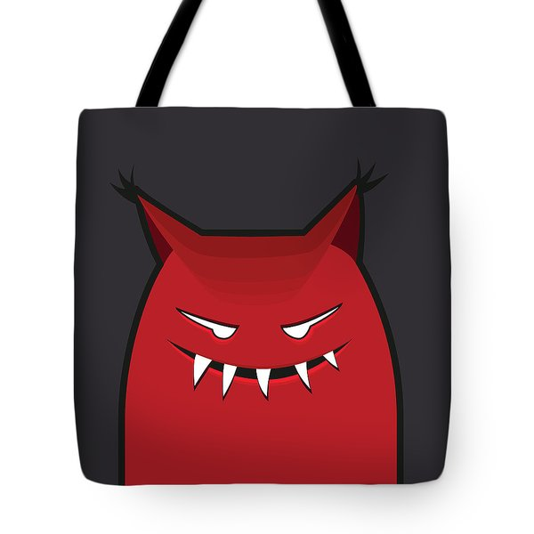Red Evil Monster With Pointy Ears Tote Bag