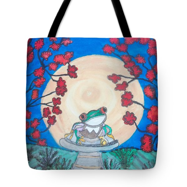 Tote Bag featuring the painting Red Eyed Frog Singing To The Moon by Connie Valasco